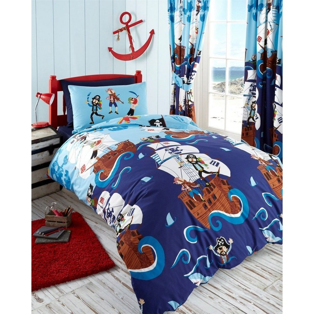 Kids Club Pirates Single Duvet Cover And 1 Pillowcase Bed Set Polycotton Blue Amazoncouk Kitchen Home