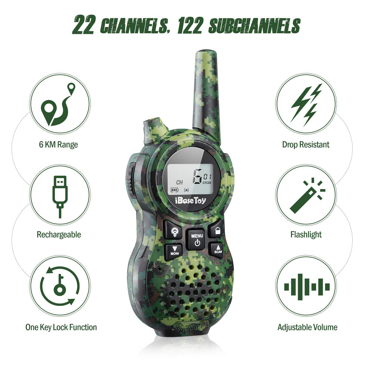iBaseToy Walkie Talkies for Kids, Rechargeable Walkie Talkies with 22 Channels, 4-Miles Range Radio with Flashlight, LCD Screen and Charging line for Outdoor Adventures, Camping, Hiking - 2 Pack by iBaseToy (Image #2)