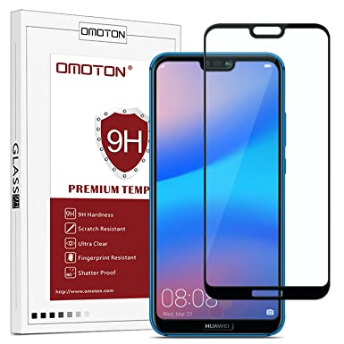 reputable site 9e61c a8472 OMOTON Compatible with Huawei P20 Lite Screen Protector - Full Coverage  Tempered Glass Screen Protector - [3D Round Edge] [9H Hardness] [Crystal ...