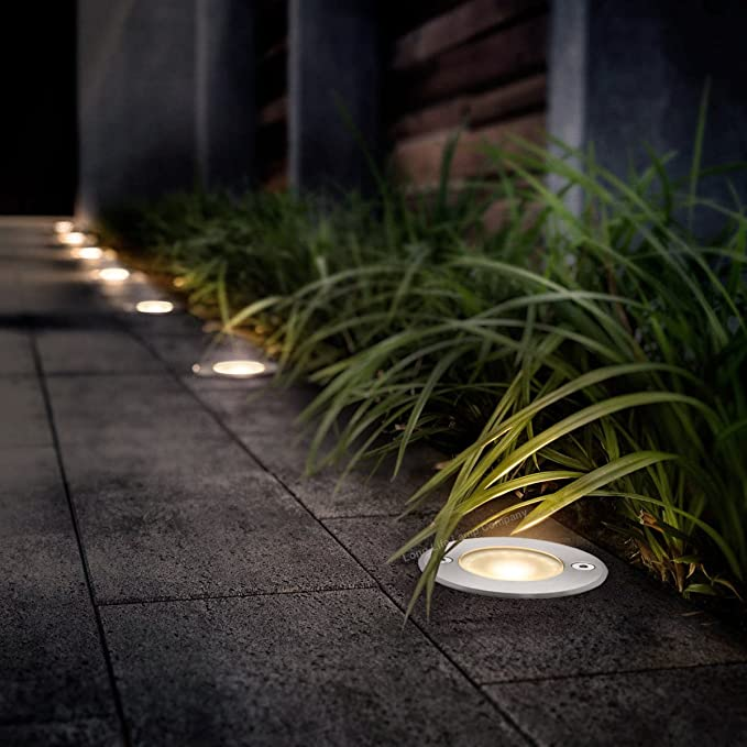 1w LED Recessed Outdoor Ground Light Round Warm White Brushed Chrome Walkover Uplighter GL06WW
