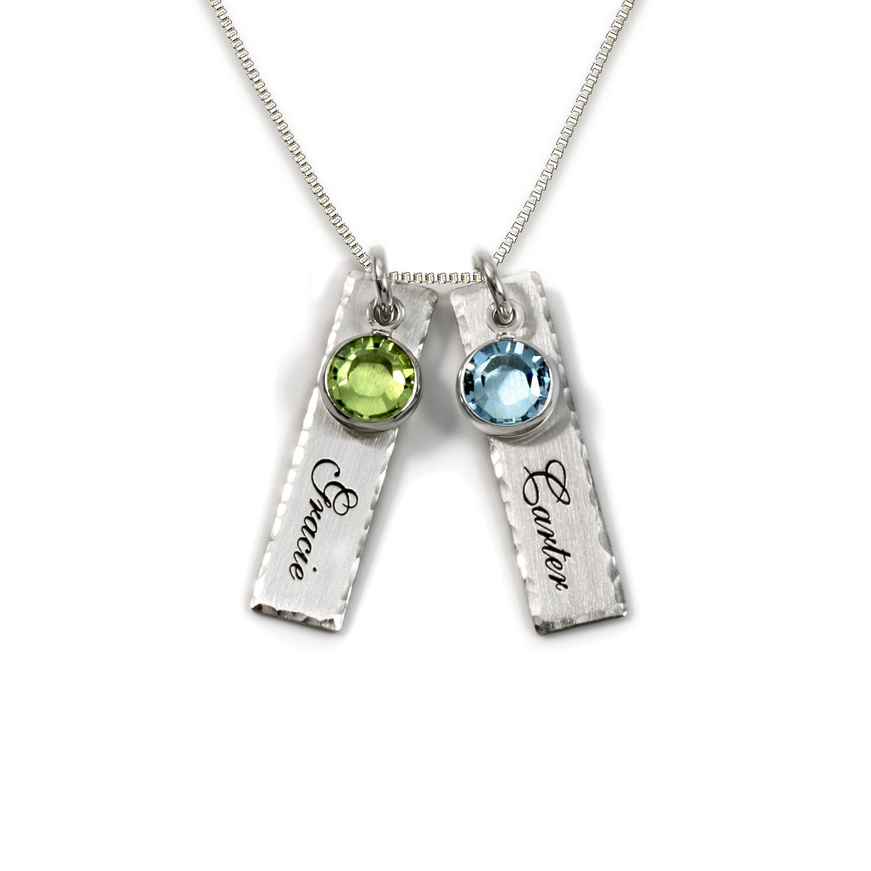 Unity in Two Personalized Charm Necklace. Customize 2 Sterling Silver Rectangular Pendants with Names of Your Choice. Choose 2 Swarovski Birthstones, and 925 Chain. Makes Gifts for Her
