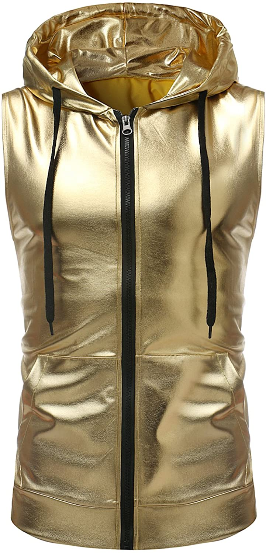 ZEROYAA Mens Hipster Metallic Zip Up Sleeveless Hooded Vest T Shirt with Kangaroo Pocket at  Men's Clothing store
