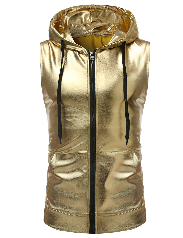 ZEROYAA Mens Hipster Metallic Zip Up Sleeveless Hooded Vest T Shirt with Kangaroo Pocket Z86 Gold Medium by ZEROYAA