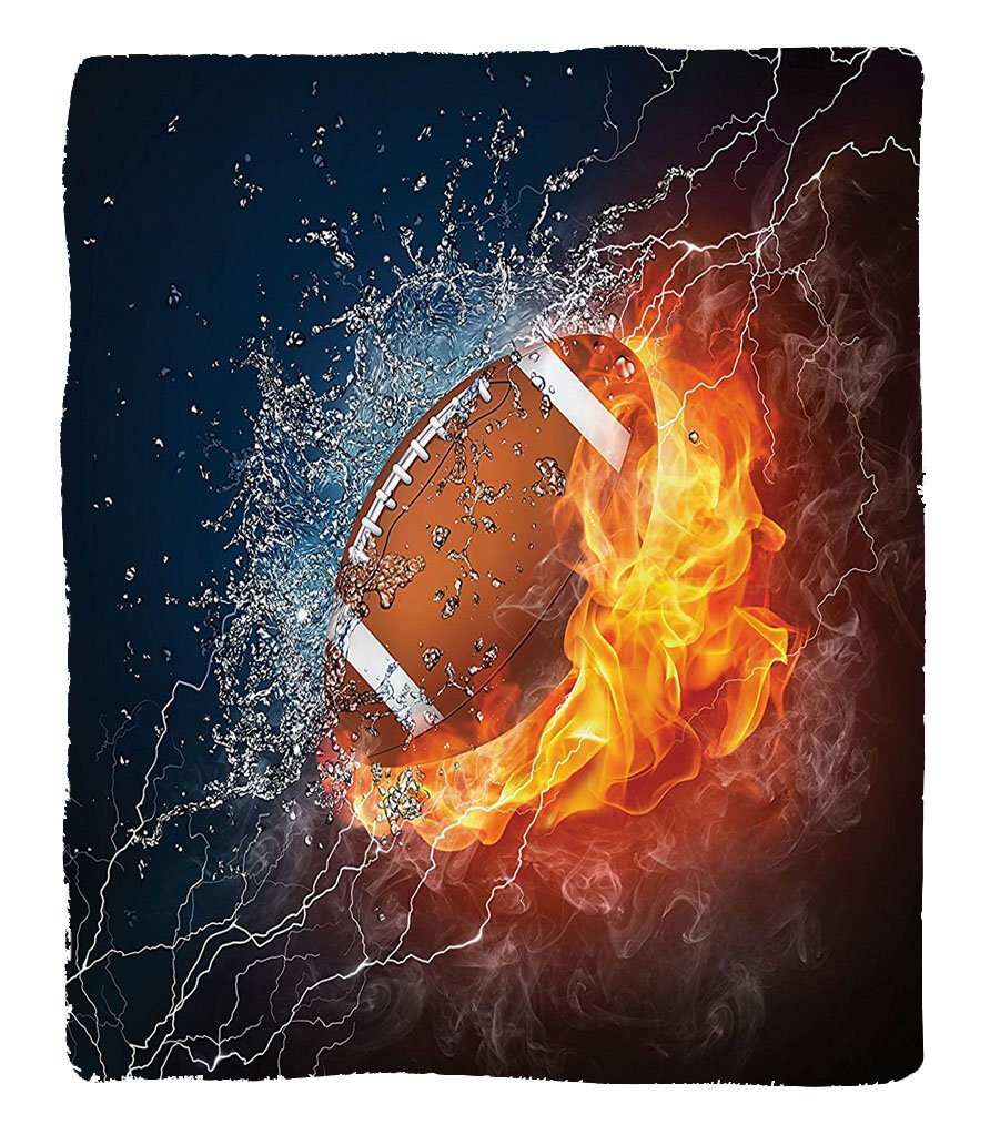 Chaoran 1 Fleece Blanket on Amazon Super Silky Soft All Season Super Plush Sports Decor Collection Football on Fire Water Flameplashing Thunder Lightning Abstract Print Fabric Extra Navy Orange Peru by chaoran