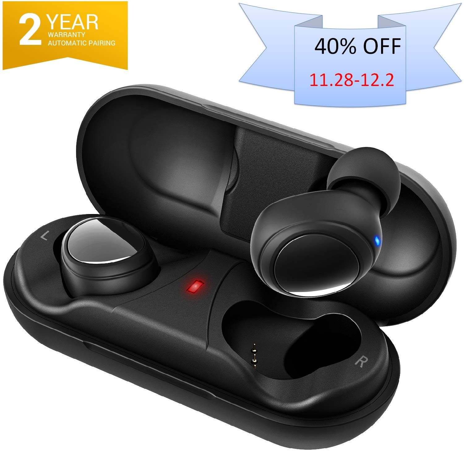 2019 Newly True Wireless Earbuds Bluetooth 5.0 Headphones, Sports in-Ear TWS 3D Stereo Sound Earphones 6-8 Hours Playtime 24H Playtime with Charging case