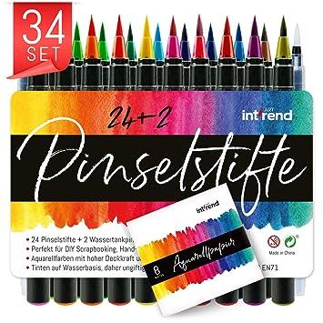 768db598a06e5 int!rend Premium Pinselstifte 34er Set I 24 knallige Aquarell Farben, 2  Wassertankpinsel,
