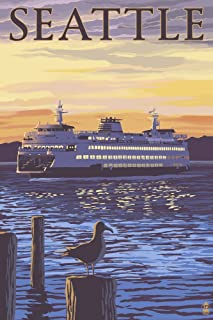 product image for Seattle, Washington - Ferry Sunset and Gull (36x54 Giclee Gallery Print, Wall Decor Travel Poster)