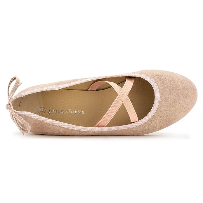 3d5ed5dea Amazon.com | RF ROOM OF FASHION Women's Mary Jane Ballet Flats - Slip On Ballerina  Flat Shoes - Low Chunky Heel Bow Back Straps | Flats