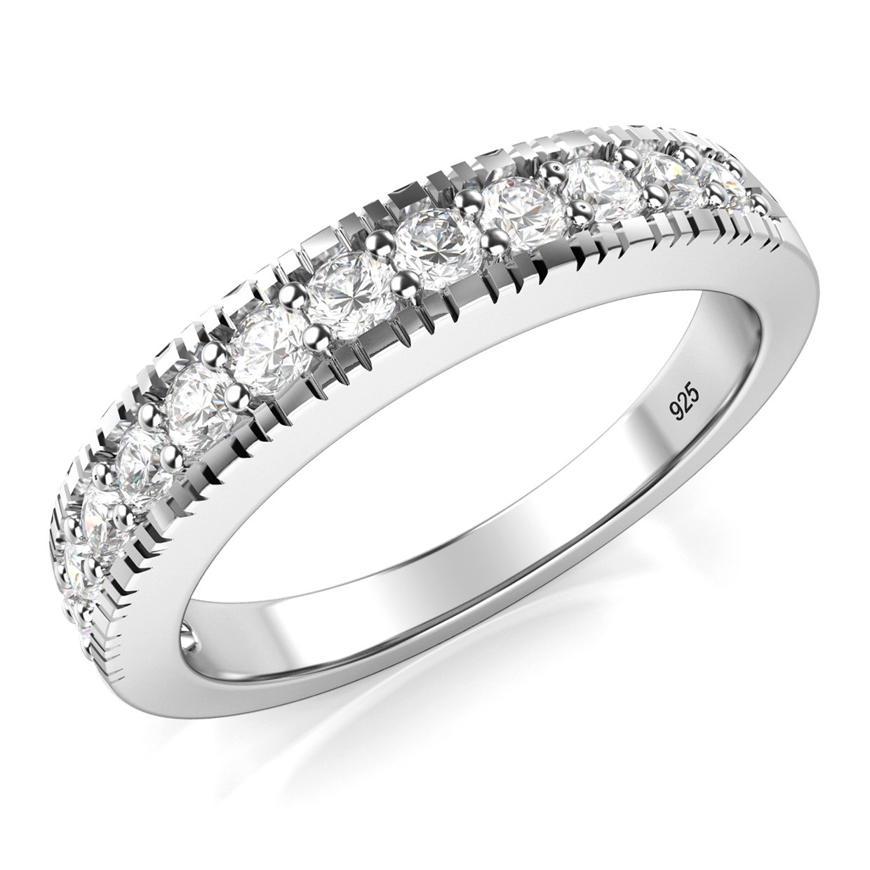 Metal Factory Sz 7 Sterling Silver 925 CZ Cubic Zirconia Wedding Band Ring