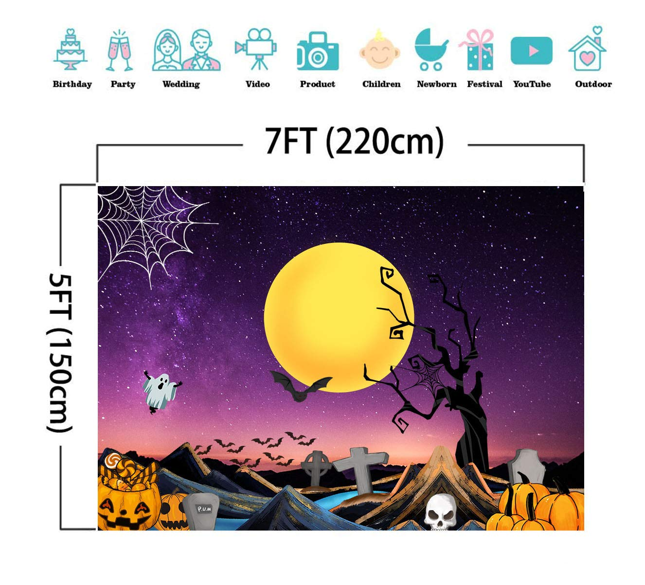 SJOLOON 7x5FT Halloween Moon Night Backdrop Pumpkin Horror Night Backdrop Photography Background for Halloween Party Decoration Banner Photo Booth Shoot Studio Props 11640