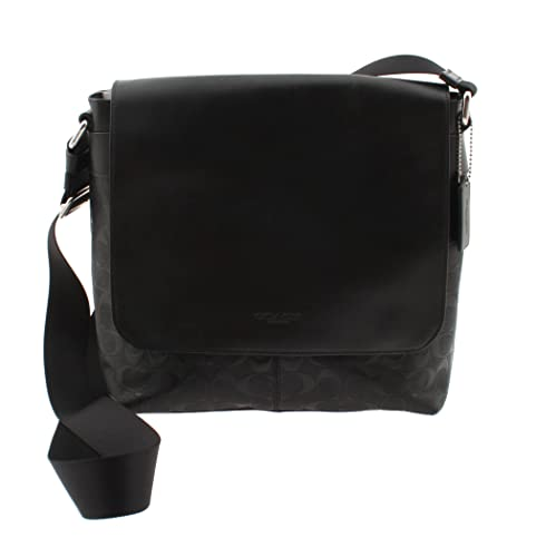 Coach Charles Small Messenger In Signature Crossgrain Leather, F72220 (Black ) f20803bd00