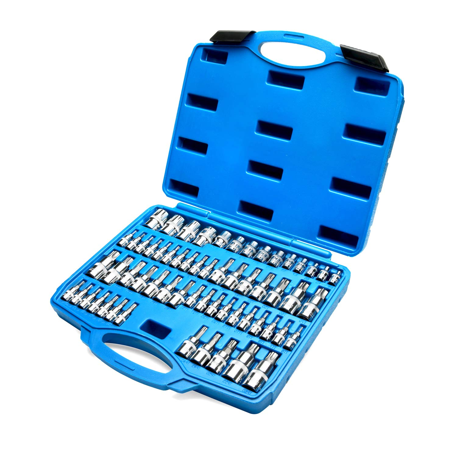 Torx Bit Socket Set and External Star Socket Set, 1/4Inch 3/8Inch 1/2 Inch Drive, S2 and Cr-V Steel, 60 Piece by Renekton