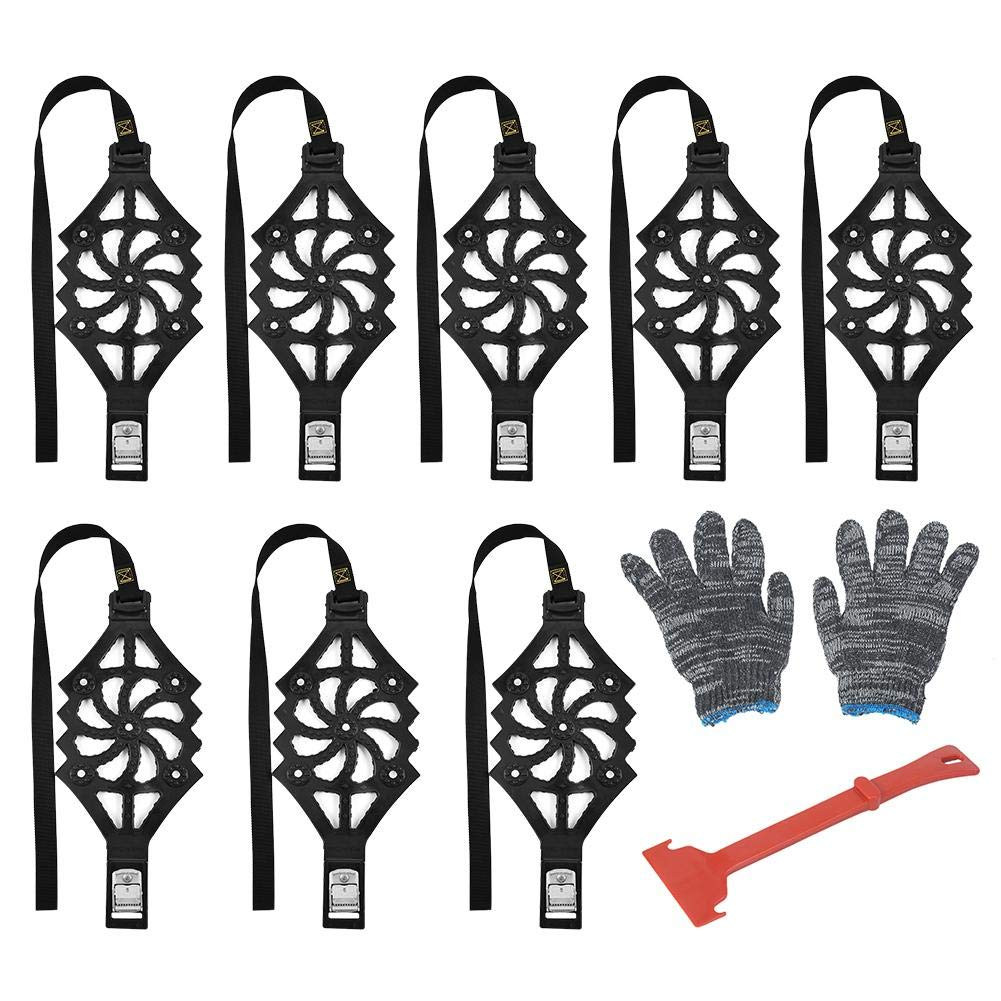 WXGY Snow Chains Anti-Slip Winter Tire Chain Car Snow Chains Tire Chains for Cart Truck 8PCS Car Tyre Winter Roadway Safety Tire Snow Adjustable Anti-Skid Safety Double Snap Classical