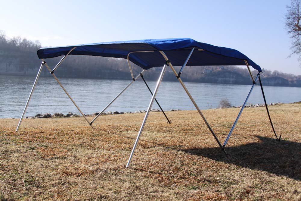 New Royal Blue Vortex Pontoon / Deck Boat 4 Bow Bimini Top 8' Long, 91-96'' Wide, 54'' High, Complete Kit, Frame, Canopy, and Hardware by Vortex