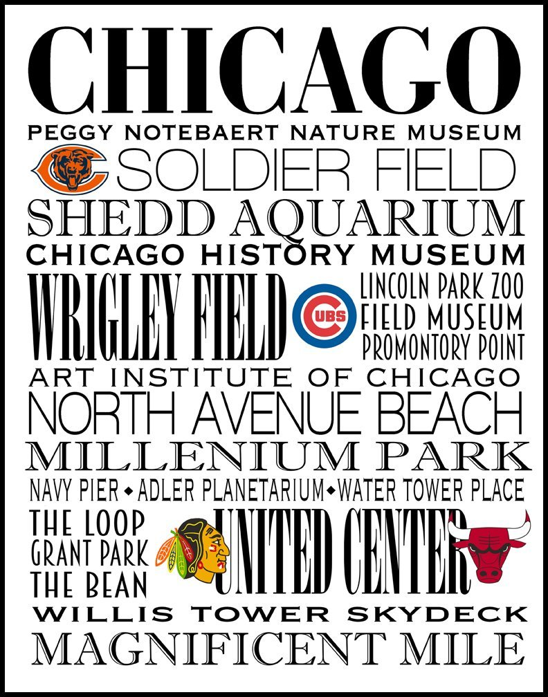 Chicago Subway Art Print centered the city's Sports Teams 11 x 14