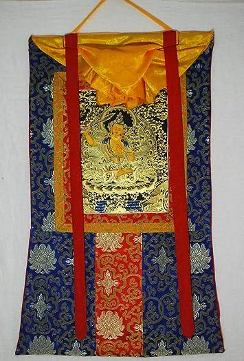 Manjushri Thanka Thangka Blue Brocade9 07