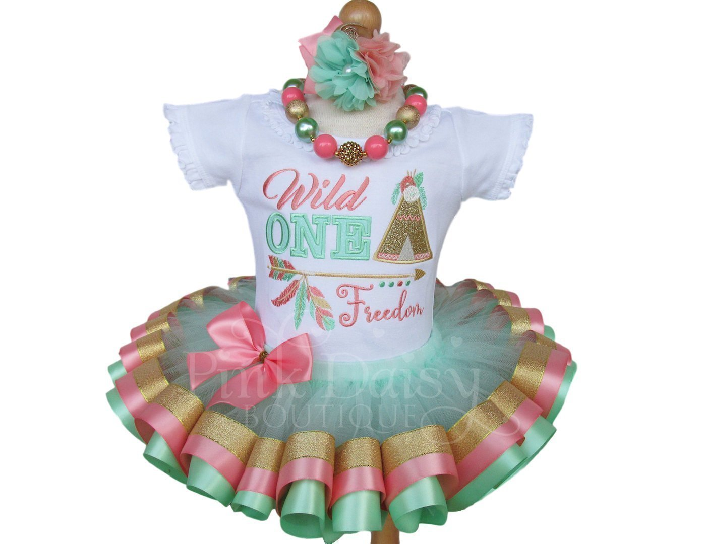 Girls Wild ONE Birthday Outfit with Personalized Shirt and Ribbon Trim Tutu in Mint Coral Gold