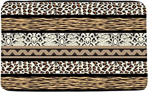 Leopard Print Zebra Stripe Bath Mat Brown African Wild Animal Leopard Zebra Skin Print Creative Geometic Abstract Bathroom Decor Rug Absorbent Doormat Kitchen Toilet Floor Rug,19.7
