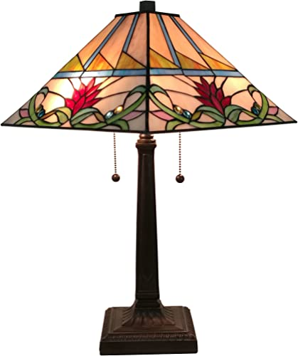 Tiffany Style Table Lamp Banker Mission 22 Tall Stained Glass Tan Green Blue Red Floral Flower Vintage Antique Light D cor Living Room Bedroom Handmade Gift AM311TL14 Amora Lighting, 14 Inches Wide