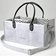 Sayhamora Baby Diaper Caddy with Shoulder Straps - Nursery Storage Bin and Car Organizer for Diapers and Baby Wipes