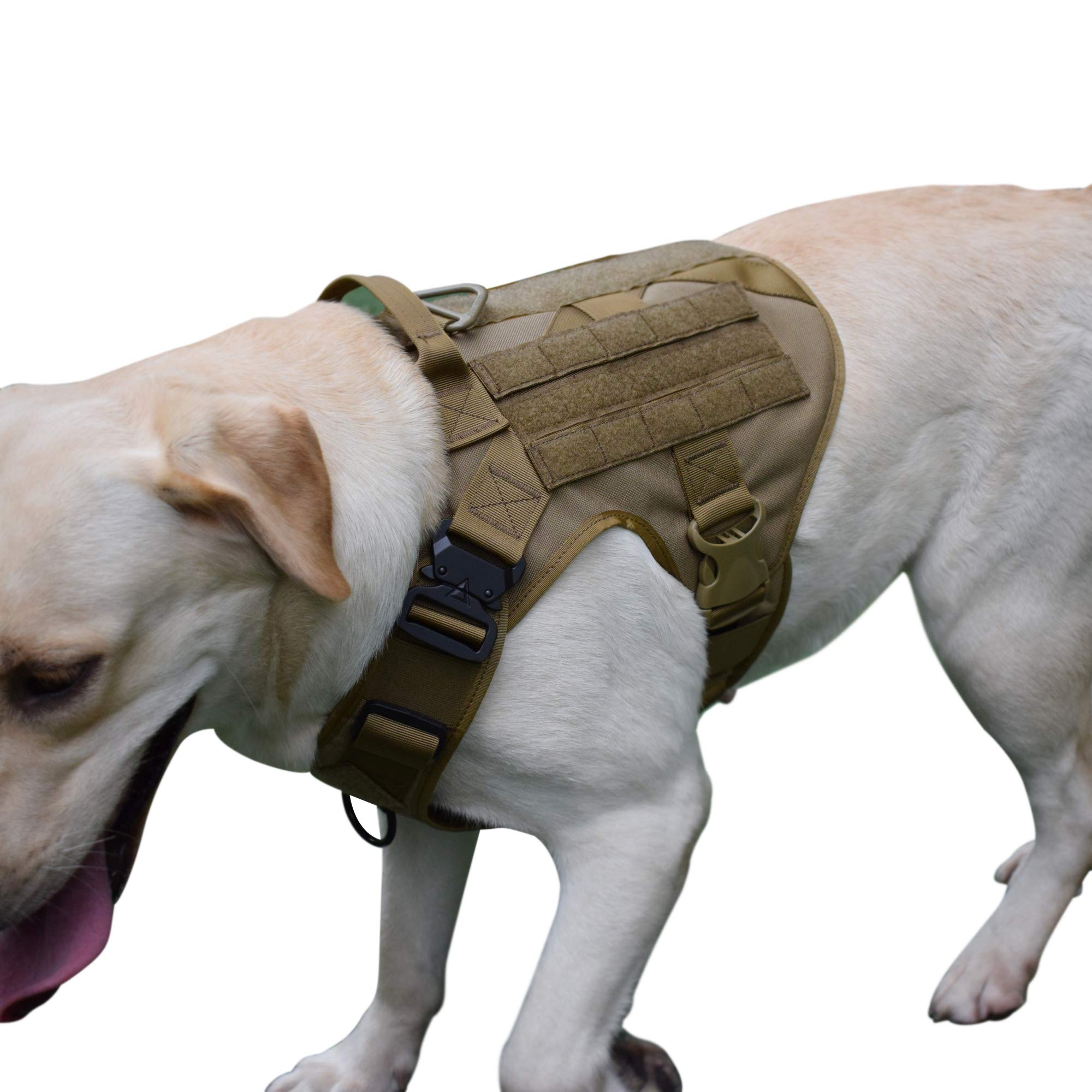 MXSLEUT Tactical K9 Harness with Handle Service Molle Dog Vest (L, Tan)