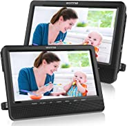 WONNIE 10'' Dual Car DVD Player Portable Headrest CD Players for Kids with 2 Mounting Brackets Built-in 5 Hours Rechargeable