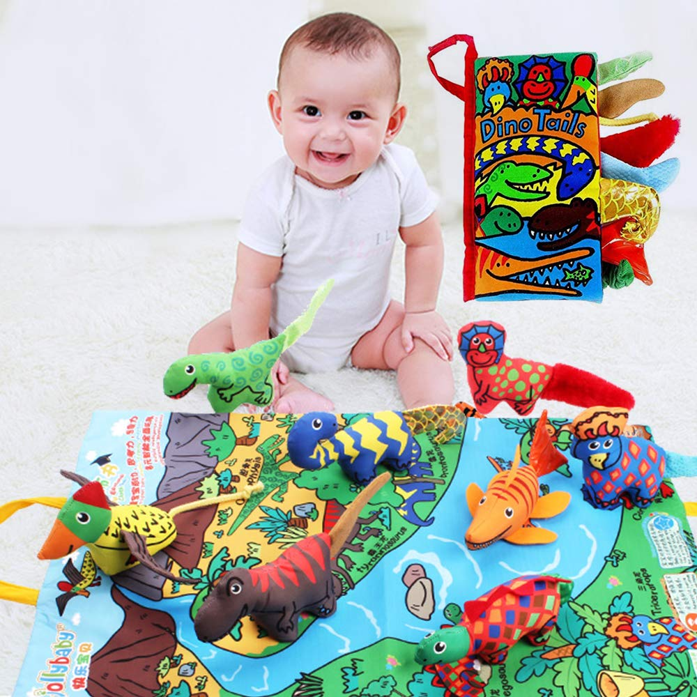 SUPOW 3D Funny Animal Tails Early Education Development Toys, Non-Toxic Soft Fabric Baby Cloth Books with Play Mat, Activity Crinkle Cloth Book for Toddler, Infants and Kids (Dinosaur)