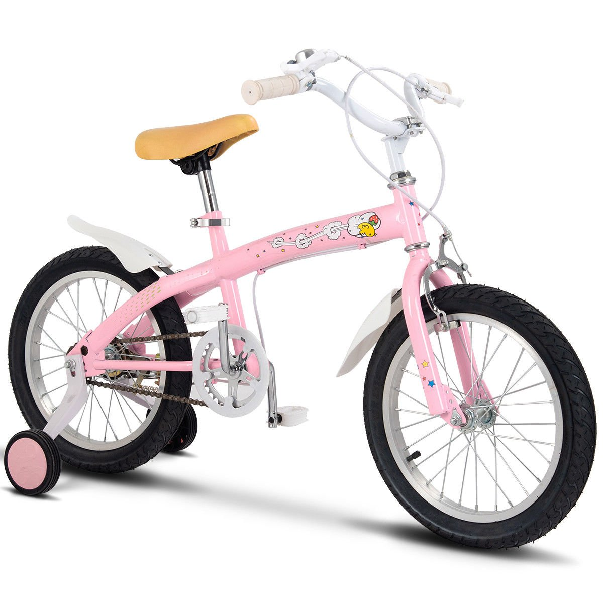 FDInspiration Pink 45'' x 31.5'' Metal Frame Kids Bike w/Training Wheels with Ebook