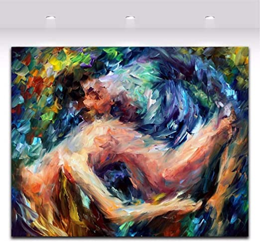 Xiaoxinyuan 100 Handpainted Oil Painting Abstract Body Art Nude Couple Woman And Man Kiss Wall Art Picture Living Room Home Decor 60 100cm Amazon Co Uk Kitchen Home