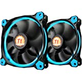 Thermaltake RIING 140mm Blue LED Ultra Quiet High Airflow Computer Case Fan, Twin Pack CL-F048-PL14BU-A