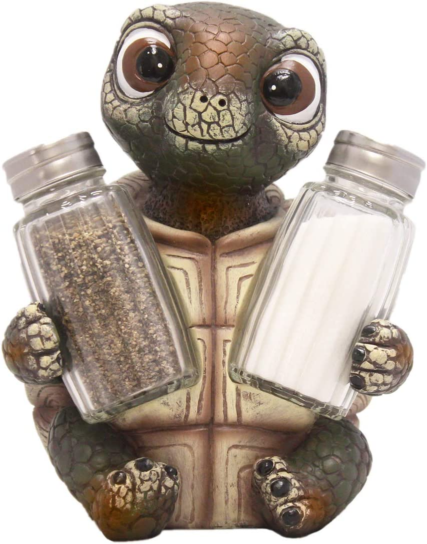 DWK Animal Holder with Salt And Pepper Shaker Set (3 Piece) | Kitchen Décor and Accessories | Salt and Pepper Shakers | Home Décor | Home Decorations - Turtle