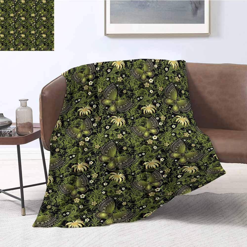 Luoiaax Sage Children's Blanket Spring Inspired Ornaments Butterflies Little Blossoms Swirled Leaves Vintage Lightweight Soft Warm and Comfortable W70 x L90 Inch Yellow Black Green by Luoiaax