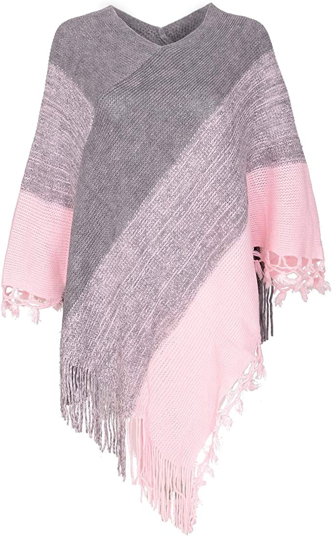 Amazon coupon code for Women Striped Poncho with Tassels Knitted Shawl Scarf
