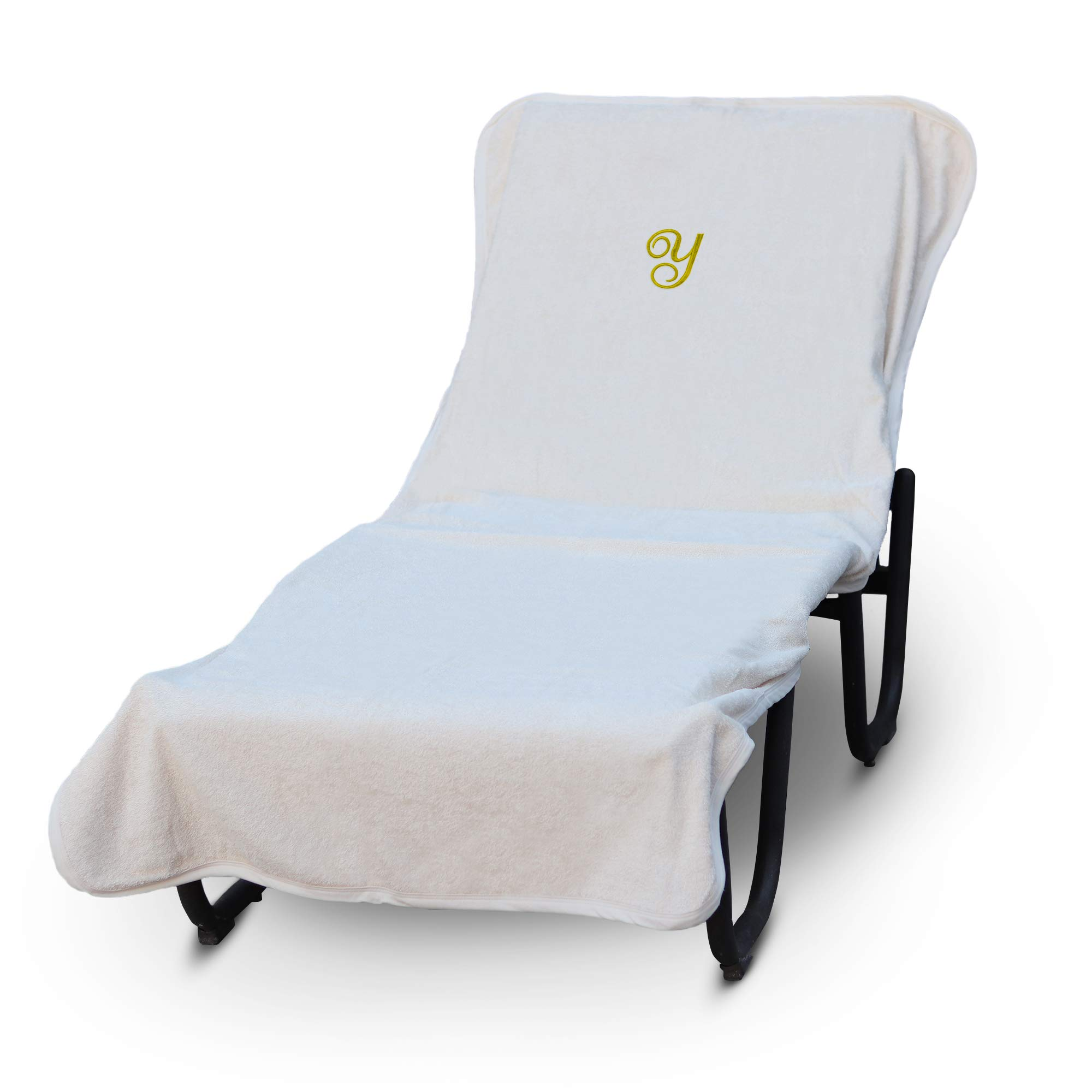 Luxury Hotel & Spa Monogrammed Pool Chaise Lounge Cover, Gold Embroidered Towel - Extra Absorbent 100% Turkish Cotton- Soft Terry Finish - Hotel-Style, Standard Size - Script Y White