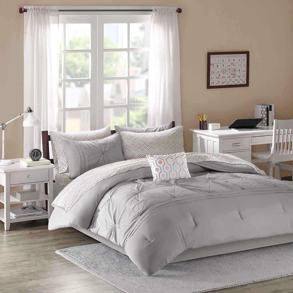 Intelligent Design Toren Comforter Set Twin Size Bed in A Bag - Grey, Medallion – 7 Piece Bed Sets – Ultra Soft Microfiber Teen Bedding for Girls Bedroom