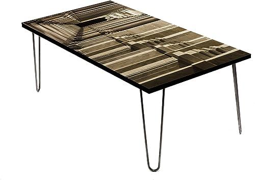 LAMOU Wood Coffee Table Digital Print on Baltic Birch-24 x48-Steel Hairpin Legs-Classical Pattern