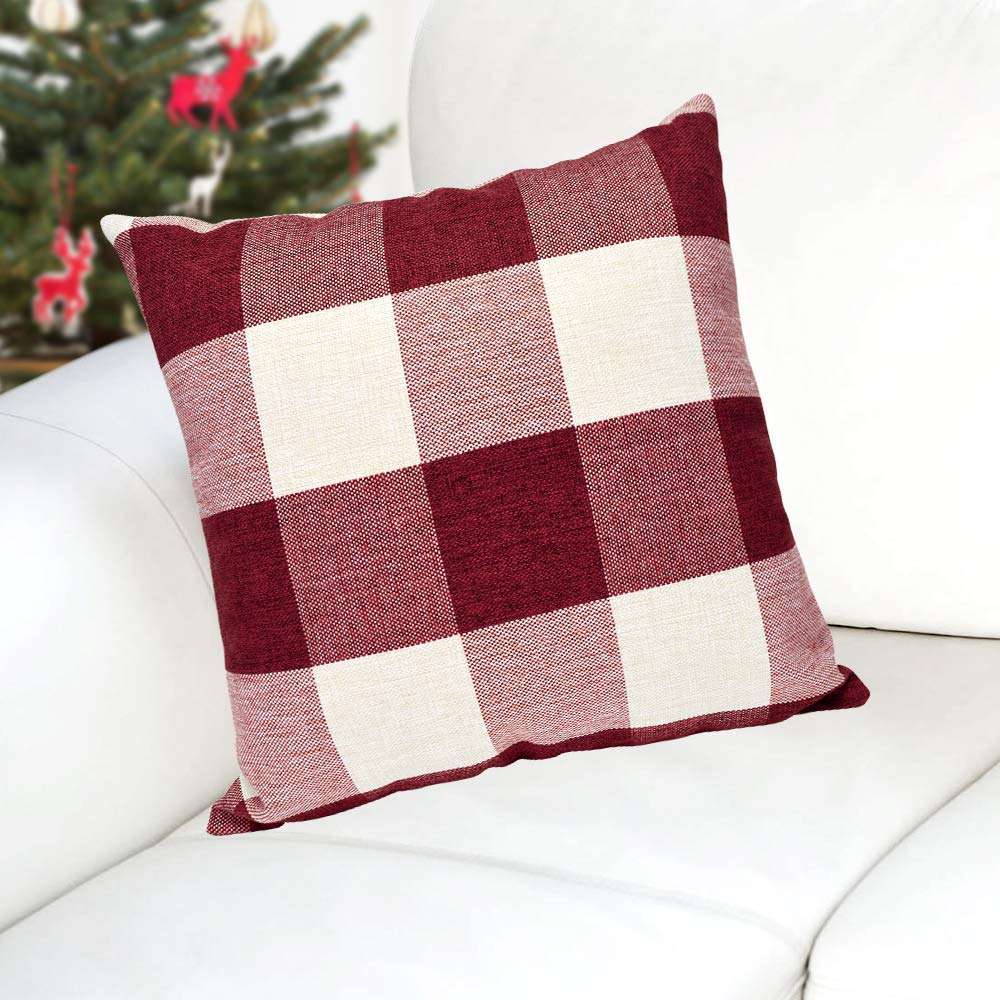 Green + White USTYLES Pillow Covers 18 X 18 Decorative Throw Pillows Covers Cotton Line Square Cushion Cases for Sofa Chair Car Bench Bed Office Bar Indoor Outdoor Home Decorations Party D/éc