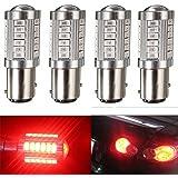 KATUR 4pcs 1157 BAY15D 5630 33-SMD Red 900 Lumens 8000K Super Bright LED Turn Tail Brake Stop Signal Light Lamp Bulb 12V 3.6W
