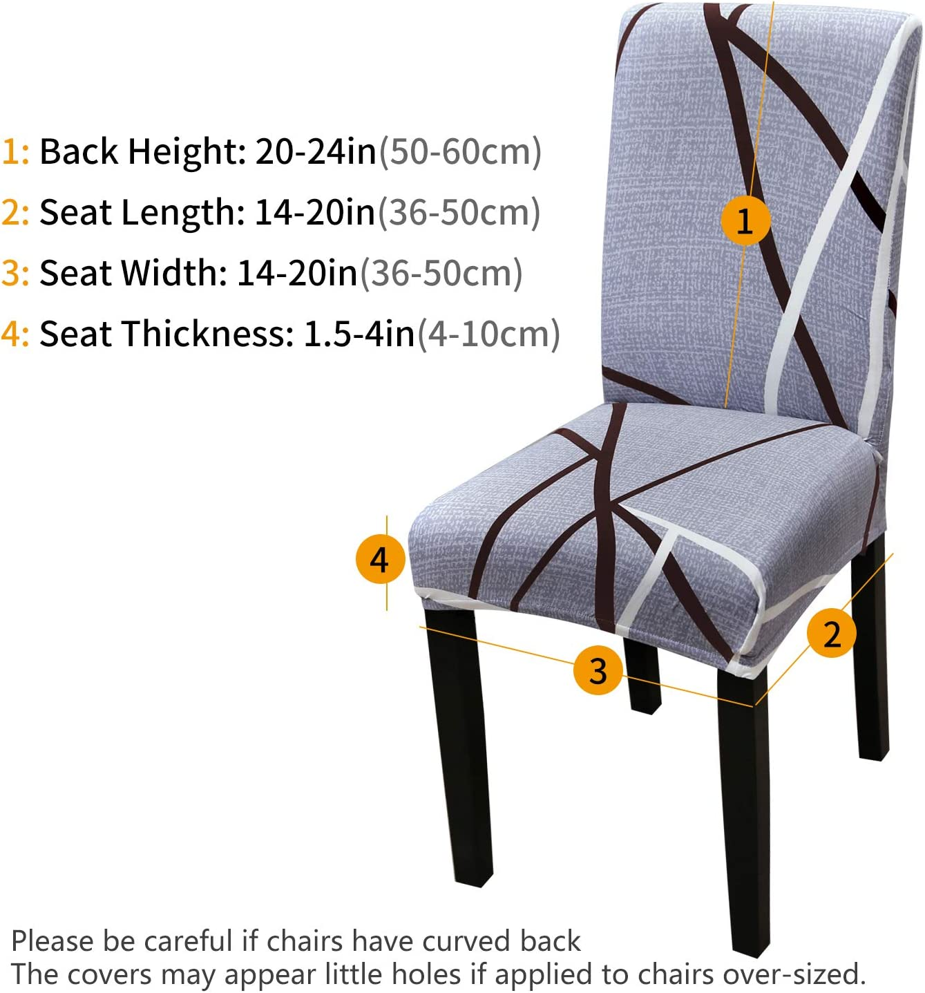 Modern Stretch Removable Washable Spandex Slipcovers for High Chairs 4//6 PCs Chair Protective Covers YISUN Spandex Dining Chair Covers