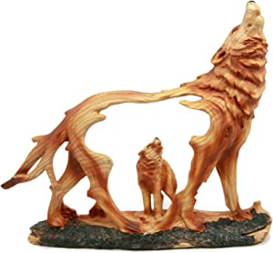 Ebros Wildlife Woodlands Scene Blood Moon Howling Gray Alpha Wolf Figurine in Faux Wood Finish Home Decor Sculpture of Wolves Timberwolves Coyotes Animal Spirit