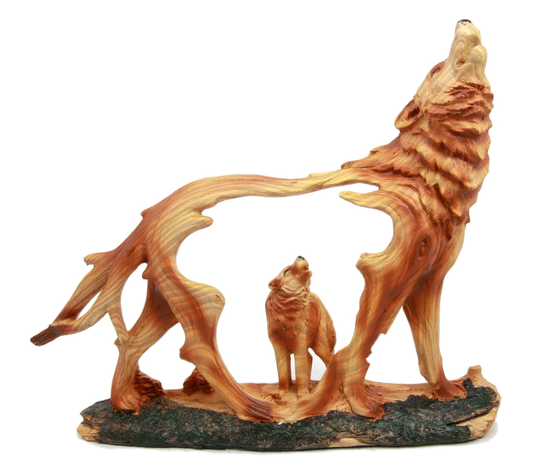 Atlantic Collectibles Wildlife Woodlands Scene Blood Moon Howling Gray Alpha Wolf Figurine In Faux Wood Finish
