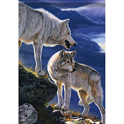 Amazon.com: YQZsay Majestic Wolves Garden Flag 13 inch x 18 ...