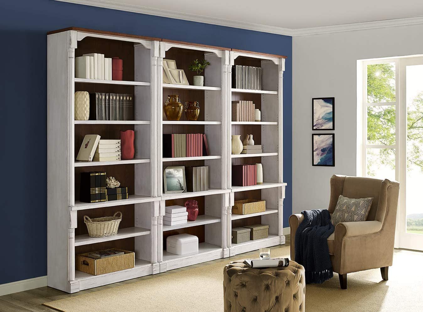 Martin Furniture 3 Open bookcase, White