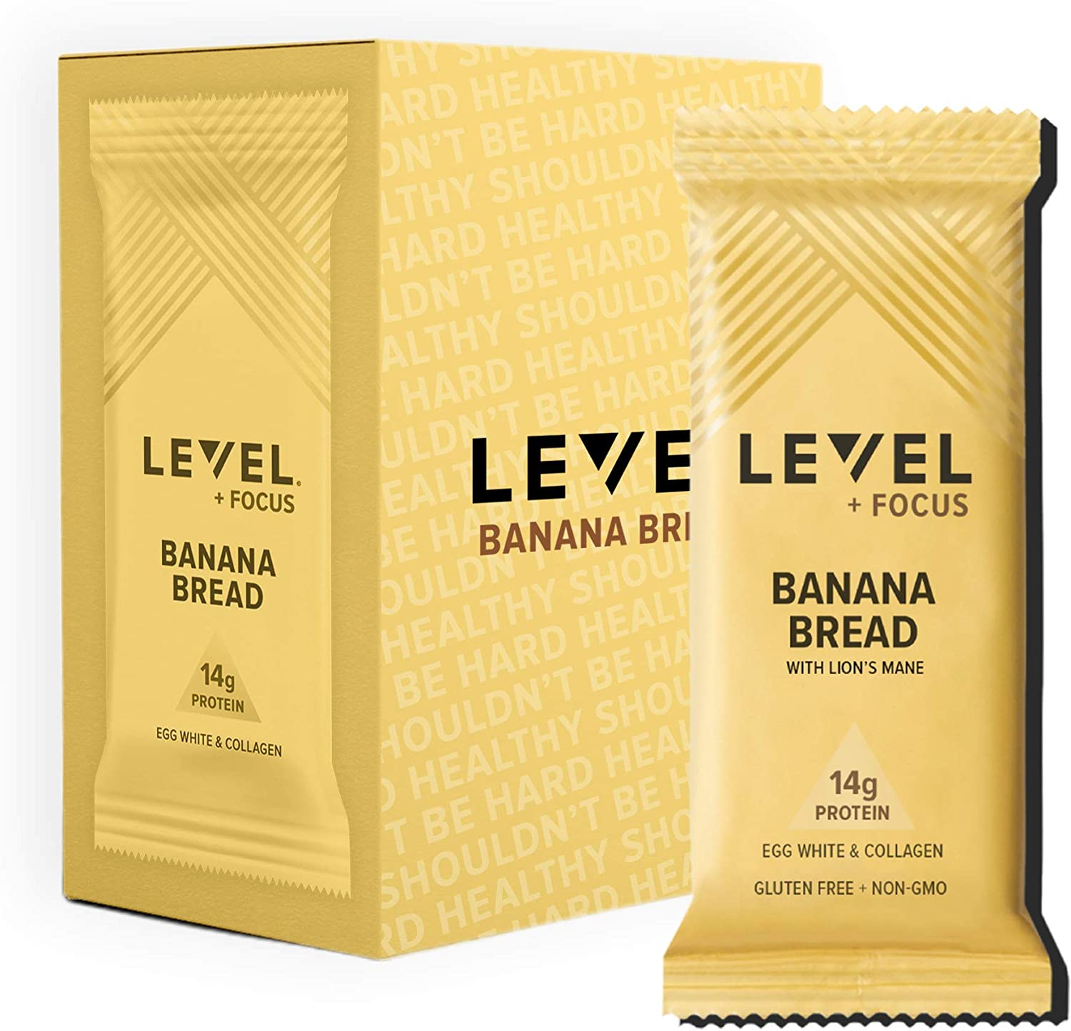 Level Foods - Banana Bread Protein Bars, High Protein, Nutritious Snacks to Support Energy, Low Sugar, Gluten Free, Variety Pack, 6 Count