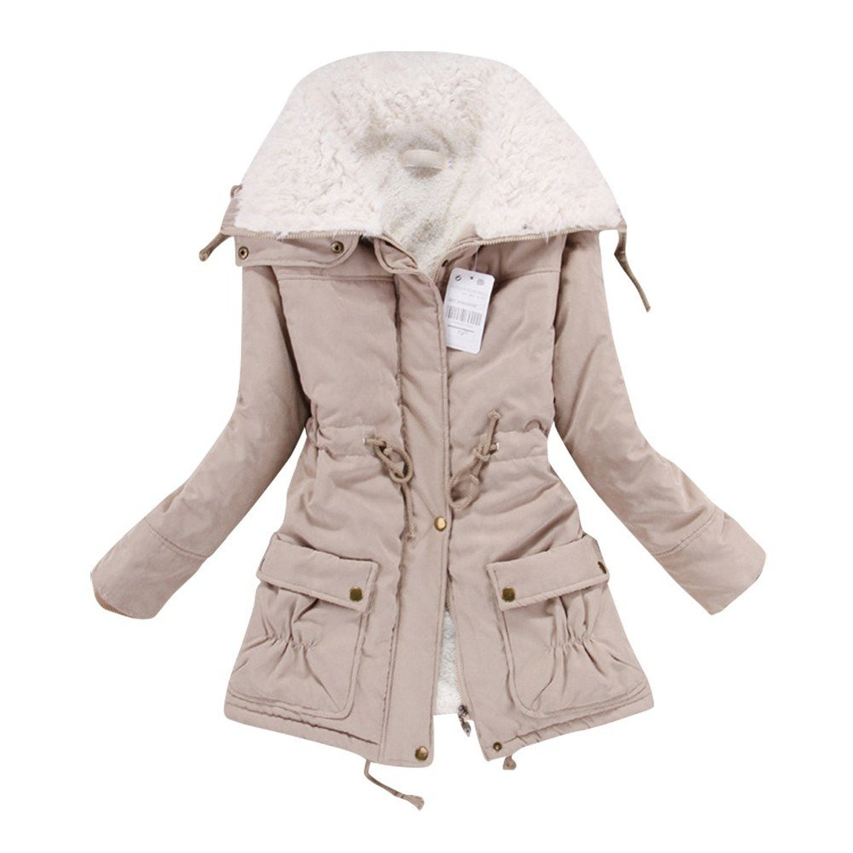 Liran Women's Winter Warm Wool Cotton-Padded Coat Parka Long Outwear Jacket US XX-Large Khaki