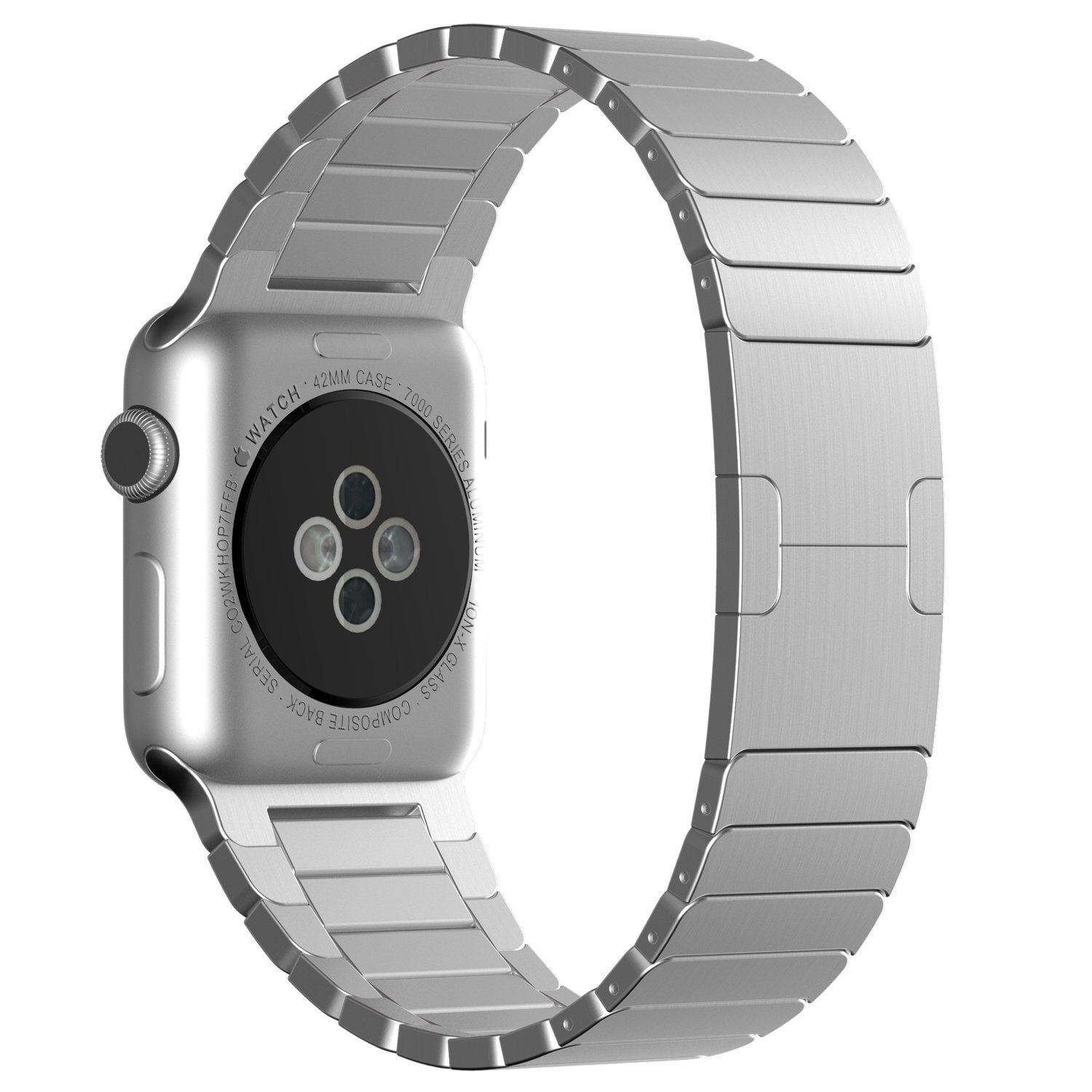 Apple Watch Band, Kasima Stainless Steel Link Bracelet with Butterfly Closure Replacement Band for Apple Watch/ Sport/ Edition (Link Bracelet-42mm Silver)