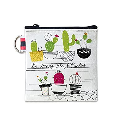 Amazon.com: Be Strong Like A Cactus - Monedero de lona con ...