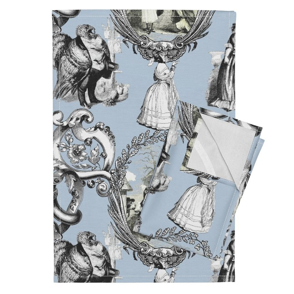 Roostery Toile Animals Victorian Weird Quirky Owl Turkey Tea Towels Those Animals Think They're by Peacoquettedesigns Set of 2 Linen Cotton Tea Towels