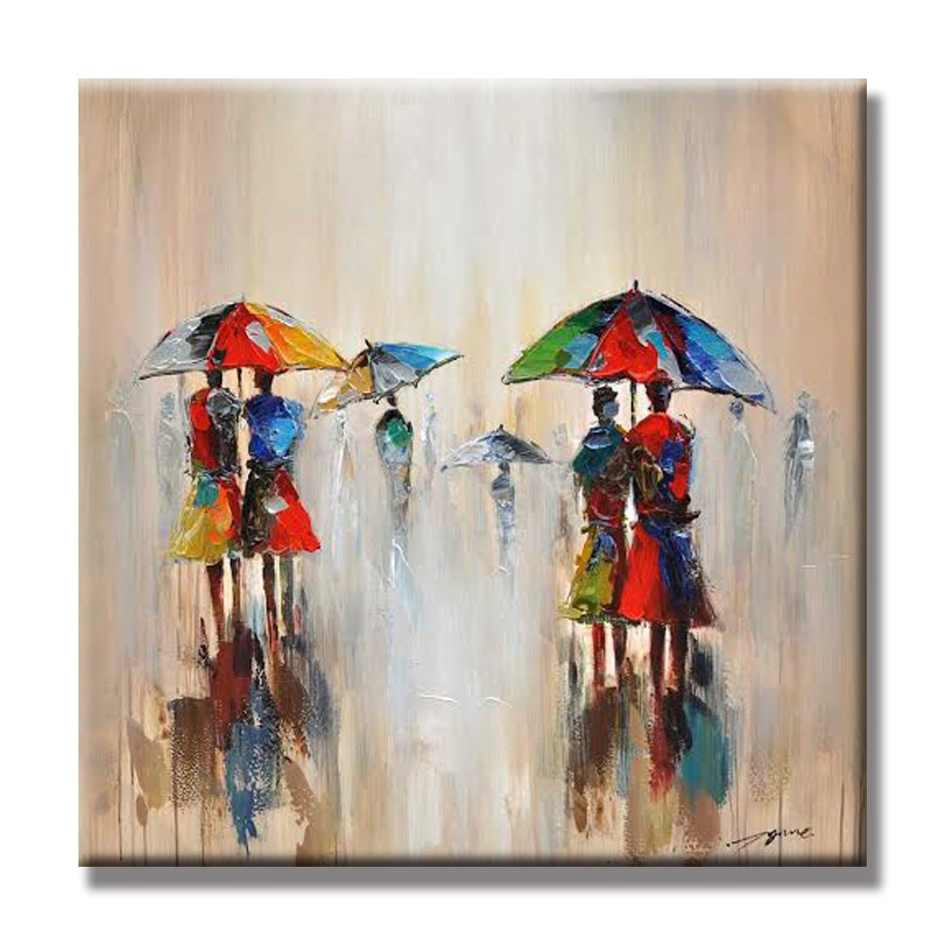 Japo Art People Walking In The Rain 100 Hand Painted Oil Painting With Stretched Frame Wall Art 24 X 24 Inch