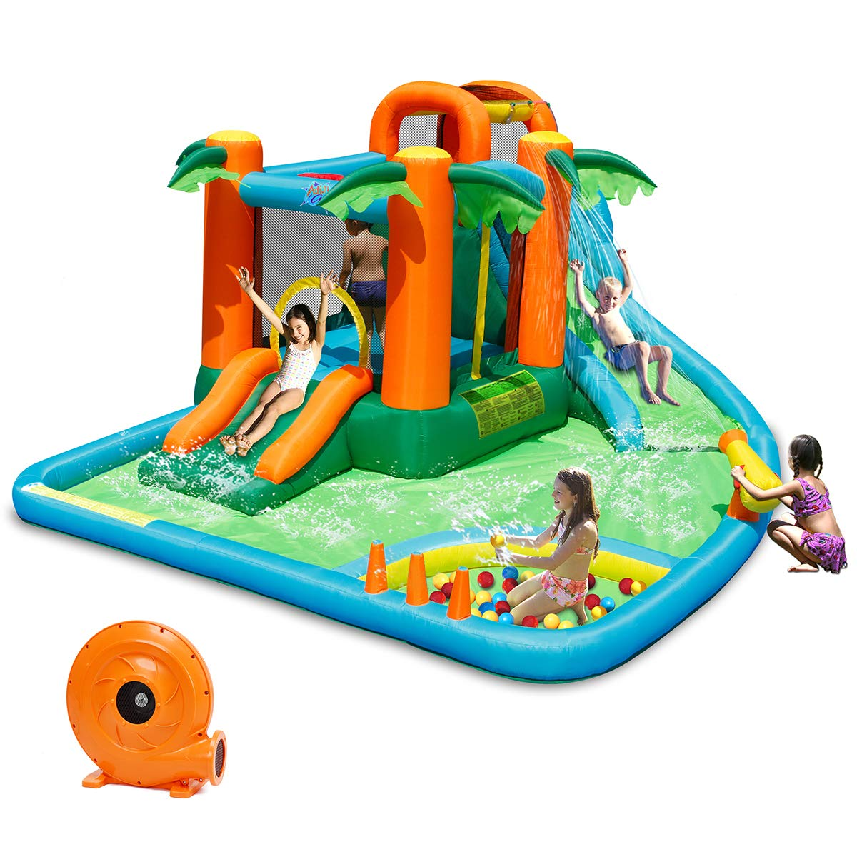 Costzon Inflatable Bounce House, 7 in 1 Jungle Jump Bounce Pool with Two Slides, Climbing Wall, Basketball Rim, Splash Pool, Water Cannon, Including Repairing Kit, Stakes, Ocean Ball, 780W Air Blower by Costzon